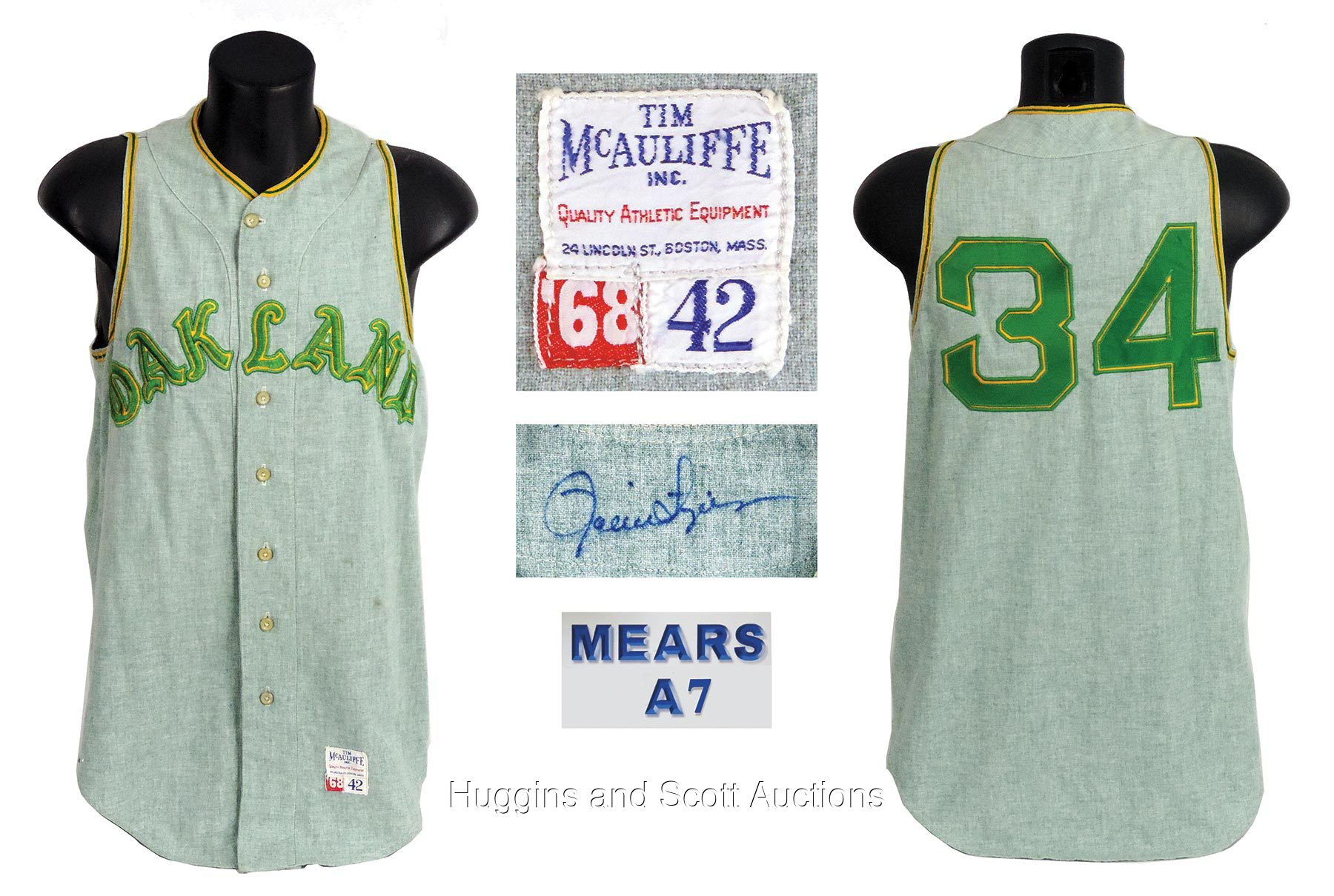 new style 9fdd1 be418 Rollie Fingers 1968 Oakland Athletics Signed Game-Worn ...